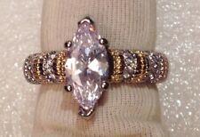bague argent 925 poinçon anneaux cristaux diamant solitaire navette taillé T.54