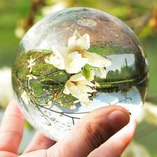 80mm Clear Round Glass Natural Quartz Magic Healing Crystal Ball Sphere Decor