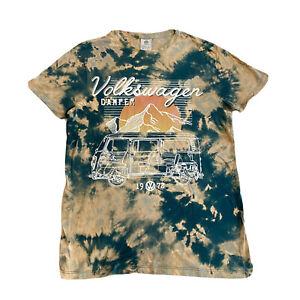 Volkswagen Camper Van Acid wash Tie Dye T-shirt Retro Logo Graphic Mens Medium L