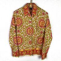 Lucky Brand Cotton Long Sleeve Button Down Shirt Blouse Top Women's Size M