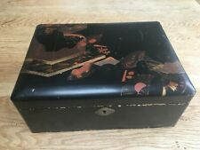 More details for oriental black lacquer box with red and gold design - 9