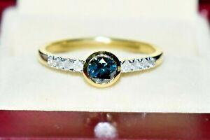 0.50ct STUNNING HALF CARAT BLUE & WHITE DIAMONDS 9CT GOLD SOLITAIRE RING NEW N/7