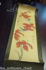 Japanese Kakemono (Hanging Scrolls) Kakeijku, birds in branch[*bookshelf]