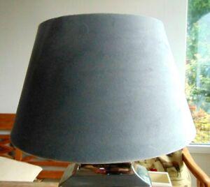 """Elegant VELOUR """"Samt"""" LAMPENSCHIRM grau RUND E27 up / down 30x17 LANDHAUSSTIL"""