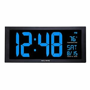 AcuRite 76100M Oversized LED Clock with Indoor Temperature Date and Fold-Out ...