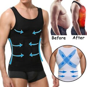 Men's Slimming Body Shaper Vest Abs Abdomen Compression T-Shirt Workout Tank UK