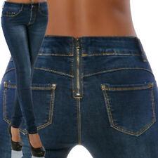 Damen High-Waist Jeans Hose Hoher Bund Skinny Röhre Röhrenjeans Slim-Fit Stretch