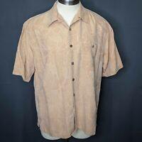 Banana Cabana Mens Shirt Large Orange Silk Hawaiian Aloha Short Sleeve Button