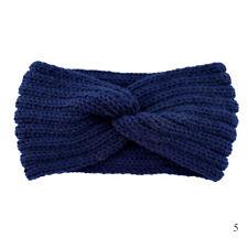 Blue Crochet Knitting Woolen Headband Weaving Cross Handmade DIY Hairband