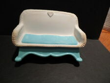 1993 Fisher Price Loving Family Dollhouse Loveseat Wicker Rocker Aqua