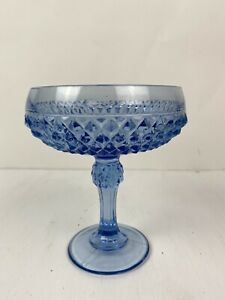 """Large Over sized Blue Glass Diamond Cut Stem Goblet Drink Cup Decor 5.75 x 7.25"""""""