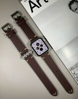 Burgundy Red Genuine Leather Strap For Apple Watch 42/44mm Series 1,2,3,4,5,6,SE