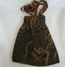 Victorian Brown Silk Purse with  Mourning Hair ( ? )Woven Design