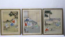 3x Aquarell Gemälde auf Seide Seidenmalerei  Bild Bilder China anonym Künstler