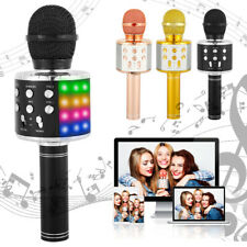 LED Wireless Microphone MIC WS-858L Bluetooth Handheld Speaker For IOS Android
