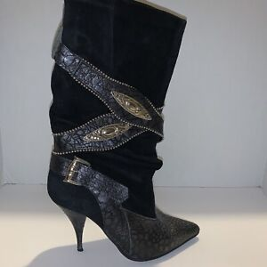 L'idea Sherida Women's Black Leather Stiletto Boots Made In Spain Size 6 1/2 B
