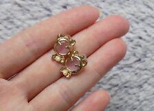 Trendy Cat Ear Pink Stone Rose Gold Stud Earrings