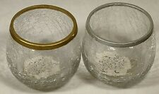 Round Crackled Glass Votive Candle Holders One Gold Trim One Silver Trim 3 in.