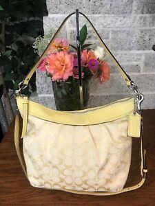 COACH PLEATED SIGNATURE  CONVERTIBLE SHOULDER BAG 13744 SATCHEL HANDBAG PURSE