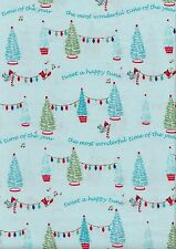 Pixie Xmas Trees Aqua -100% cotton Half Metre - 50 x 110 cms - Riley Blake