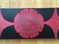 Hand painted one of a kind Skateboard Deck Totem native American design