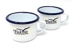 NEW FALCON ENAMEL MINI ESPRESSO MUG CUP 6CM PK2 WHITE WITH BLUE TRIM