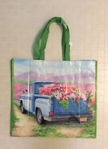 NWT HomeGoods Large Shopping Tote Bag - Old Truck With Flowers - Reusable