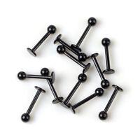50/30Pcs 16G Black Stainless Steel Labret Lip Ring Ball Stud Chin Piercing Bars