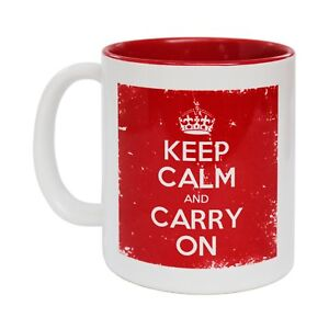 Keep Calm And Carry On Coffee Mug British White Border funny birthday gift 123t