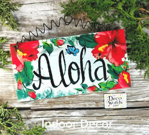 "Aloha SIGN * Indoor * Wood Indoor Decor 7.75""x4"" * Hawaiian Welcome Sign USA New"