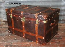 English Handmade Leather Coffee Table Trunk Antique Leather Chests