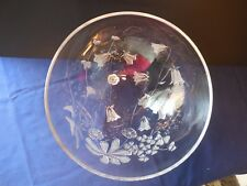 "Vintage Savoir Vivre Meadow Vale Glass Bowl Embossed/Frosted Wildflowers 9"""