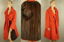 Red Ultrasuede w/ Genuine Sable Brown Ranch Mink Fur Long Jacket Stroller Coat M