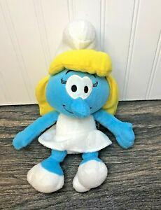 "The Smurfs Smurfette 10"" Plush, 2011, Blue Girl Blonde Hair White Dress Nanco"