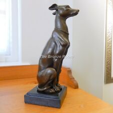 Genuine Bronze - Whippet Sculpture on Marble Base after Barye