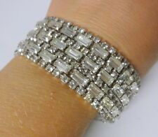 Vtg Beautiful Runway Elegant Fashion Baguette Clear Rhinestone Tennis Bracelet