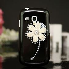 Samsung Galaxy S Duos s7562 Hard Case Case Pouch Beads Stones 3d Flower Black