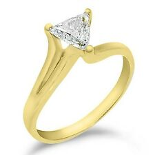 1/2 CARAT WOMENS SOLITAIRE TRILLION CUT DIAMOND ENGAGEMENT RING YELLOW GOLD