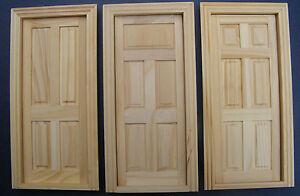 1:12 Scale Natural Finish Tumdee Dolls House Miniature Internal Wooden Door