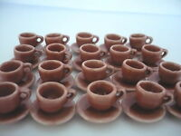 20 Coffee cup and 20 Saucer Mini Red  Dollhouse Miniatures Ceramic Deco