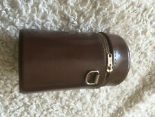Vintage Universal Brown Leather Camera Lens Case zip fastening