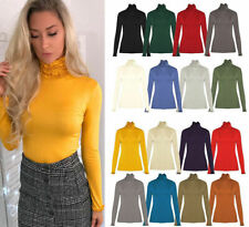 Women's Ladies Long Sleeve Frill Ruffles High Neck Polo Top Jumper Tops UK 8-14