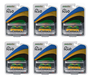 GREENLIGHT 1:64 SCALE RIO GAME BRAZIL VOLKSWAGEN VW T2 BUS 6 PCS 51037
