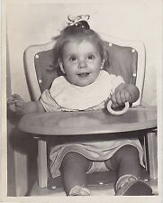 Old Vintage Antique Photograph Adorable Little Baby Sitting in High Chair
