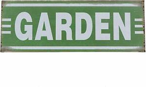 """Shabby Chic Country Farmhouse Style Metal Tin Green """"GARDEN"""" Sign"""