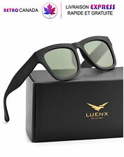 Lunette de soleil polarisées pour hommes, protection UV 400 gris-vert avec étui