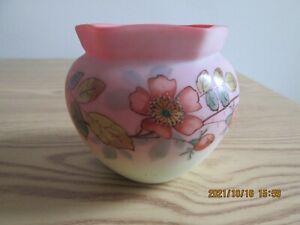 Thomas Webb Victorian Queen's Burmese Uranium Glass Vase Hand Painted