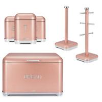NEW Glitz Bread Bin Canister Set Blush Pink Bread Tea Coffee Sugar Storage Set