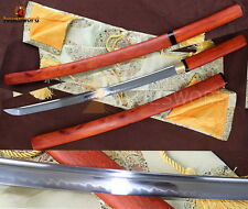 Japanese Sword WAKIZASHI Shirasaya  T10 Clay Tempered Blade Fully Functional
