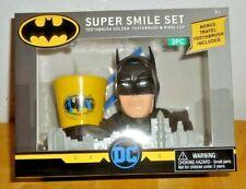 Boys DC Comic Batman Super Smile Set 3 pc Oral Care Toothbrush Holder Rinse Cup